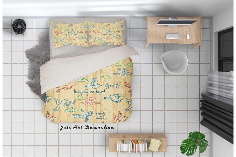 3D Cartoon Dove Yellow Quilt Cover Set Bedding Set Pillowcases 90-Queen