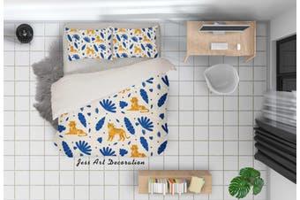 3D Cartoon Tiger Blue Leaf Quilt Cover Set Bedding Set Pillowcases 89-Double