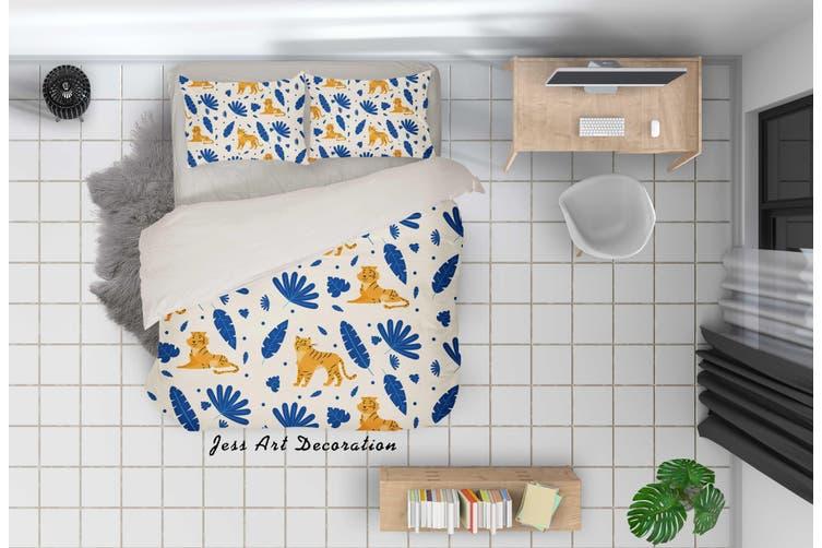 3D Cartoon Tiger Blue Leaf Quilt Cover Set Bedding Set Pillowcases 89-Queen