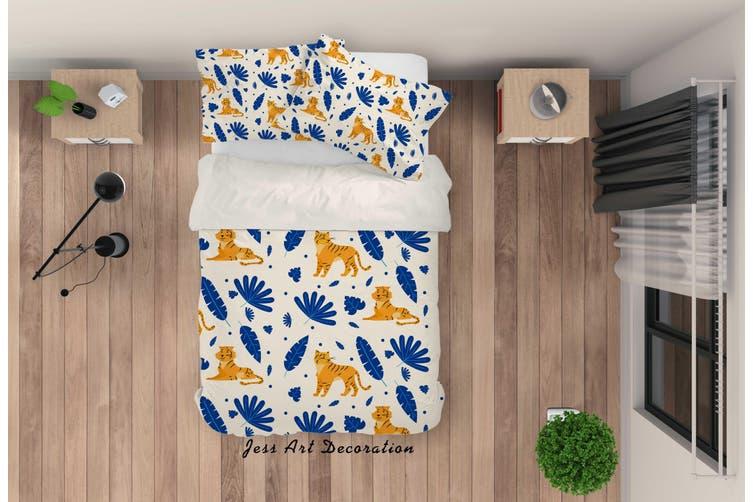 3D Cartoon Tiger Blue Leaf Quilt Cover Set Bedding Set Pillowcases 89-King