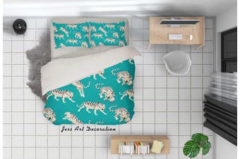 3D Cartoon Tiger Green Quilt Cover Set Bedding Set Pillowcases 88-Single