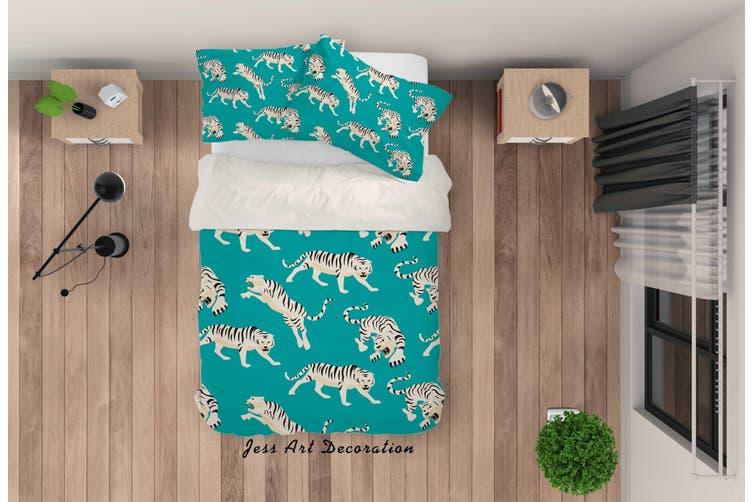 3D Cartoon Tiger Green Quilt Cover Set Bedding Set Pillowcases 88-Queen
