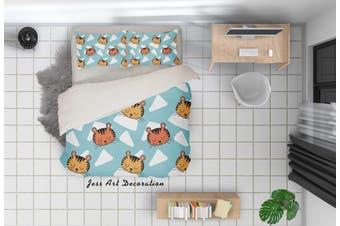 3D Cartoon Cat Blue Quilt Cover Set Bedding Set Pillowcases 87-Queen