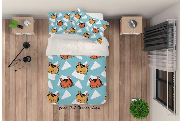 3D Cartoon Cat Blue Quilt Cover Set Bedding Set Pillowcases 87-King