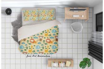 3D Cartoon Dinosaur Yellow Quilt Cover Set Bedding Set Pillowcases 86-Queen