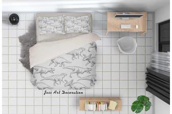 3D Cartoon Dinosaur Grey Quilt Cover Set Bedding Set Pillowcases 85-Queen