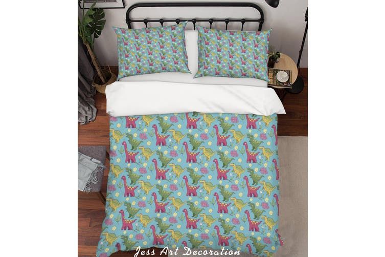 3D Cartoon Dinosaur Green Quilt Cover Set Bedding Set Pillowcases 84-Queen