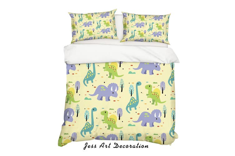 3D Cartoon Dinosaur Yellow Quilt Cover Set Bedding Set Pillowcases 83-King