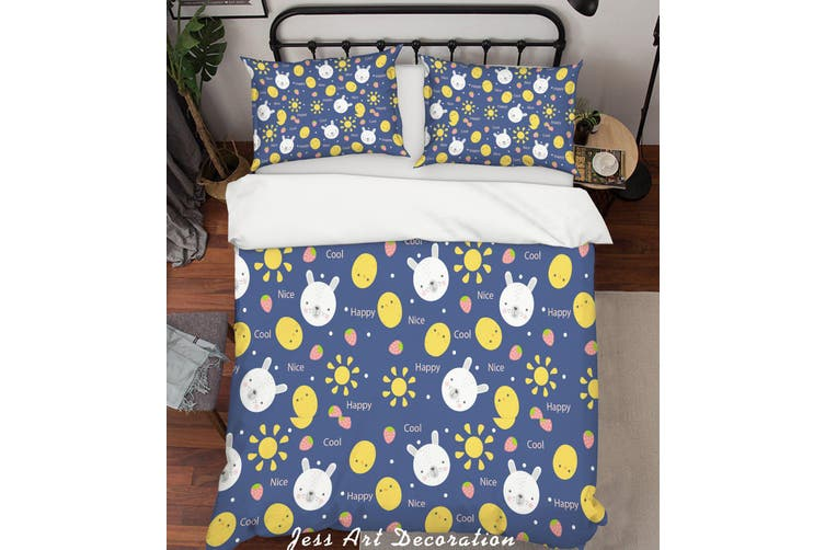 3D Cartoon Rabbit Quilt Cover Set Bedding Set Pillowcases 78-King