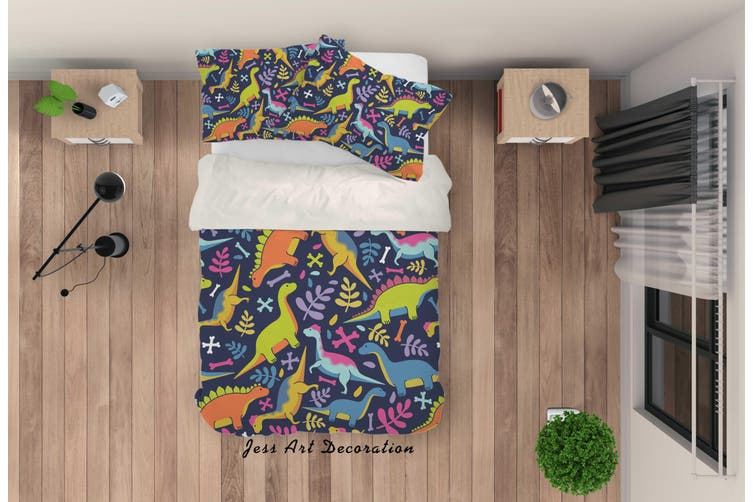 3D Cartoon Dinosaur Quilt Cover Set Bedding Set Pillowcases 77-Single