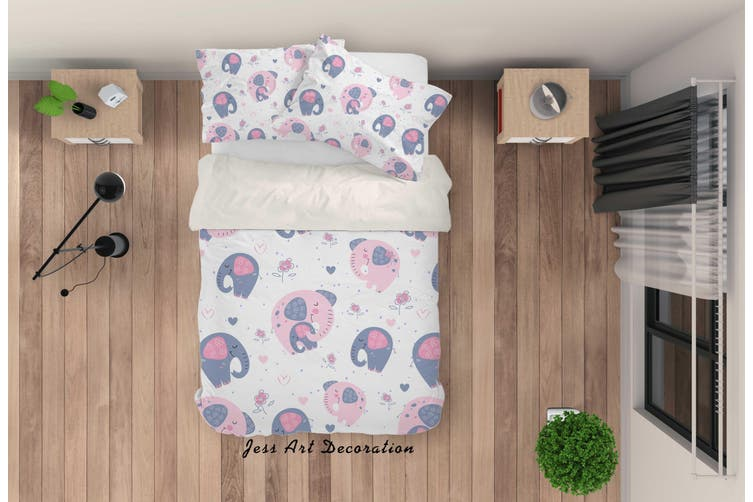 3D Cartoon Elephant Quilt Cover Set Bedding Set Pillowcases 73-King