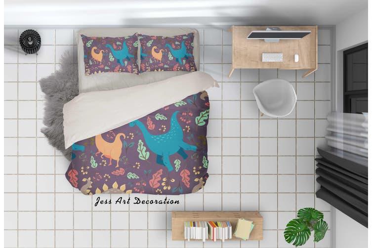 3D Cartoon Dinosaur Quilt Cover Set Bedding Set Pillowcases 72-Single