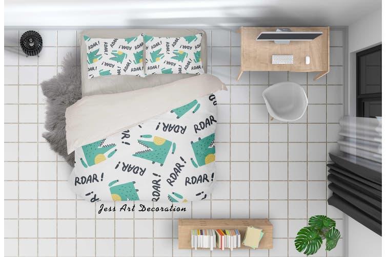 3D Cartoon Green Crocodile Quilt Cover Set Bedding Set Pillowcases 48-Single