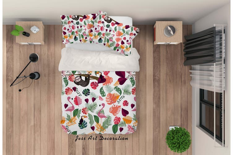 3D Cartoon Animal Leaves Quilt Cover Set Bedding Set Pillowcases 44-Double
