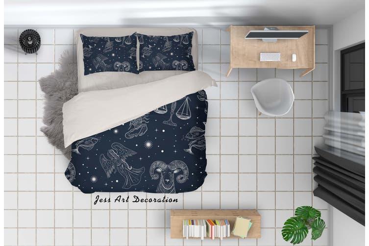 3D Cartoon Constellation Quilt Cover Set Bedding Set Pillowcases 43-Single