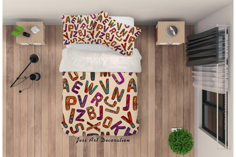 3D Color Letter Pattern Quilt Cover Set Bedding Set Pillowcases 42-Single