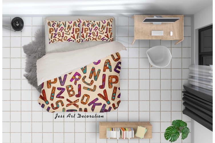 3D Color Letter Pattern Quilt Cover Set Bedding Set Pillowcases 42-King