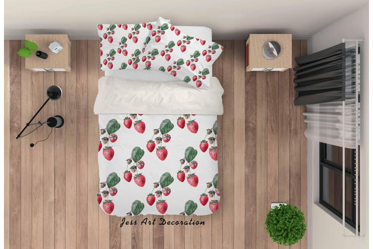 3D Red Strawberry Quilt Cover Set Bedding Set Pillowcases 39-Single