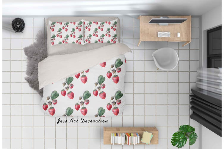 3D Red Strawberry Quilt Cover Set Bedding Set Pillowcases 39-Queen