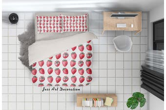 3D Pink Strawberry Quilt Cover Set Bedding Set Pillowcases 38-King