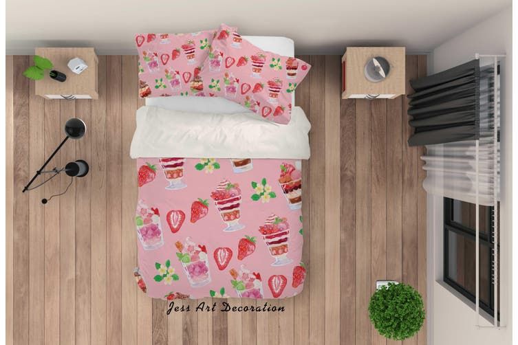 3D Pink Ice Cream Strawberry Quilt Cover Set Bedding Set Pillowcases 37-Single