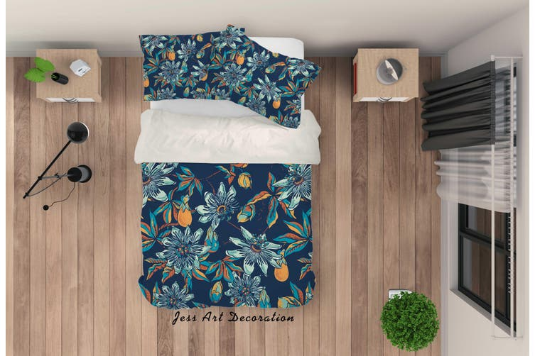 3D Blue Floral Pattern Quilt Cover Set Bedding Set Pillowcases 36-King