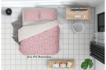 3D Pineapple Pink Quilt Cover Set Bedding Set Pillowcases 35-Single
