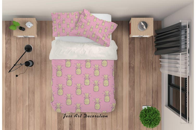 3D Pineapple Pink Quilt Cover Set Bedding Set Pillowcases 35-King