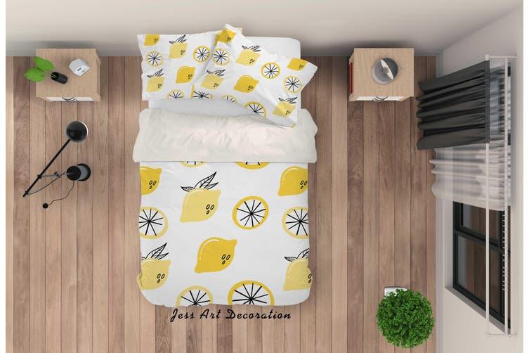 3D Yellow Lemon Quilt Cover Set Bedding Set Pillowcases 34-Single