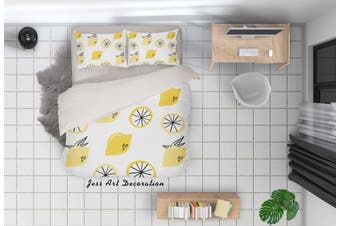 3D Yellow Lemon Quilt Cover Set Bedding Set Pillowcases 34-King