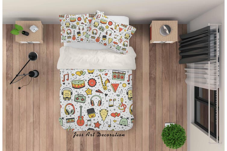 3D Cartoon Music Equipment Quilt Cover Set Bedding Set Pillowcases 33-Single