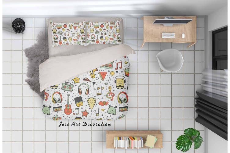3D Cartoon Music Equipment Quilt Cover Set Bedding Set Pillowcases 33-Double