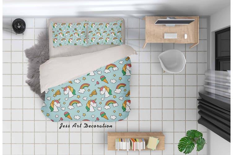 3D Cartoon Rainbow Ice Cream Quilt Cover Set Bedding Set Pillowcases 32-Double
