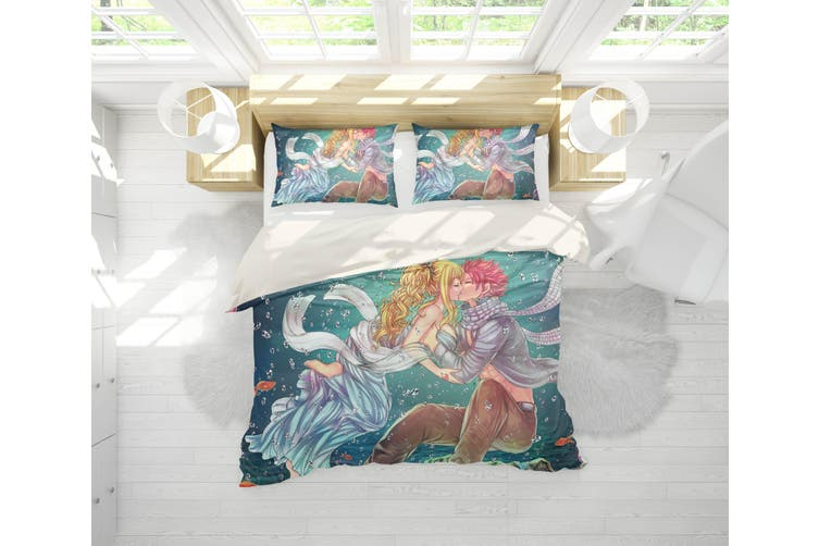 3D Anime Fairy Tail Quilt Cover Set Bedding Set Pillowcases 15-Queen