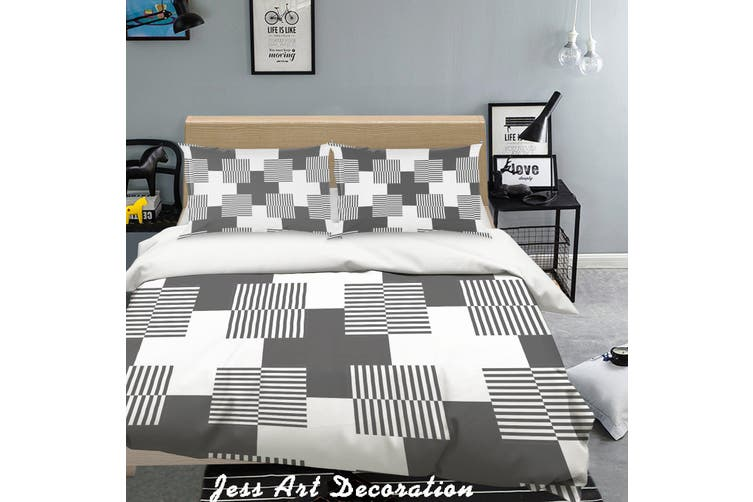 3D Black White Geometry Pattern Quilt Cover Set Bedding Set Pillowcases 279-Queen