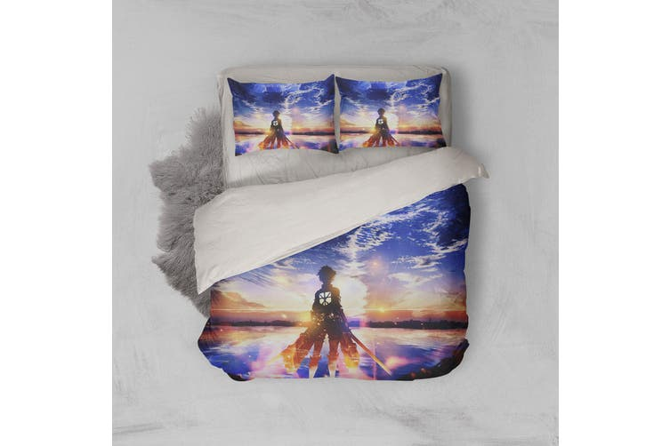 3D Anime Attack Giant Quilt Cover Set Bedding Set Pillowcases 79-King