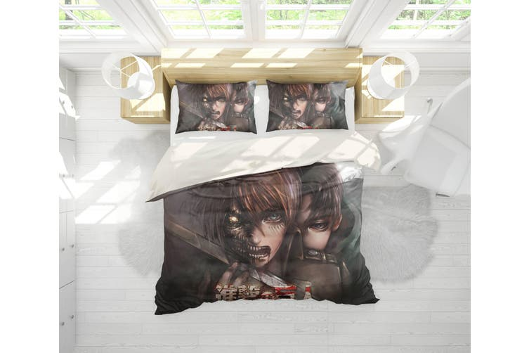 3D Anime Attack Giant Quilt Cover Set Bedding Set Pillowcases 72-King