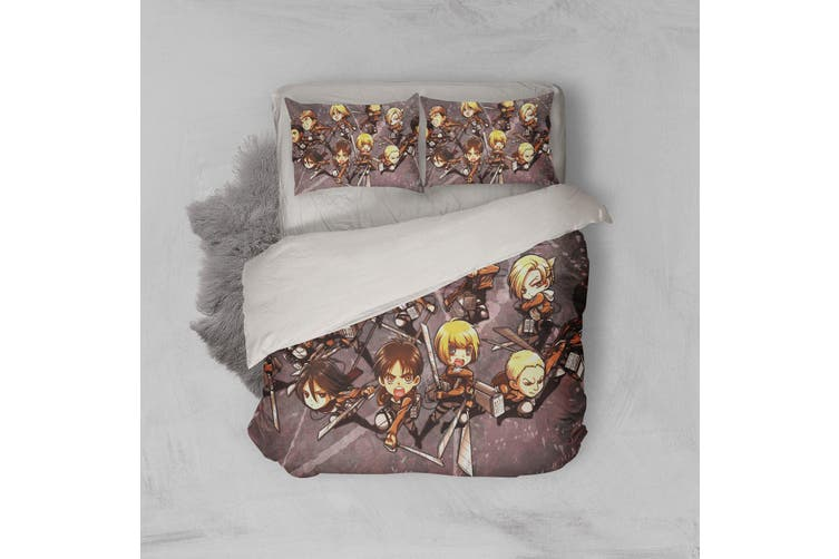 3D Anime Attack Giant Quilt Cover Set Bedding Set Pillowcases 69-Double