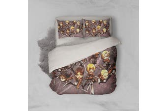 3D Anime Attack Giant Quilt Cover Set Bedding Set Pillowcases 69-Queen