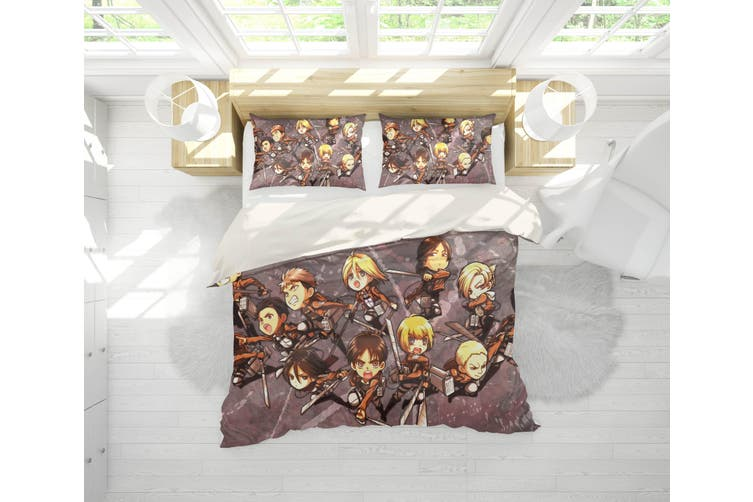 3D Anime Attack Giant Quilt Cover Set Bedding Set Pillowcases 69-King