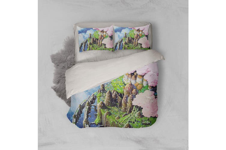 3D Anime Castle In Sky Quilt Cover Set Bedding Set Pillowcases 55-Queen