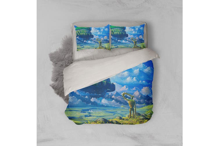 3D Anime Castle In Sky Quilt Cover Set Bedding Set Pillowcases 54-Double