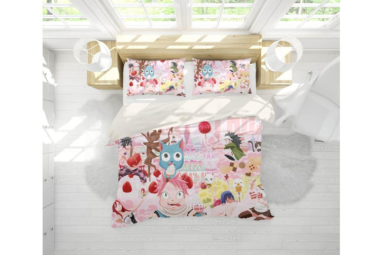3D Anime Fairy Tail Quilt Cover Set Bedding Set Pillowcases 52-King