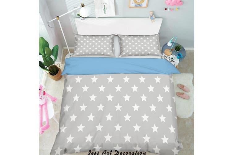 3D White Stars Pattern Quilt Cover Set Bedding Set Pillowcases  219-Double