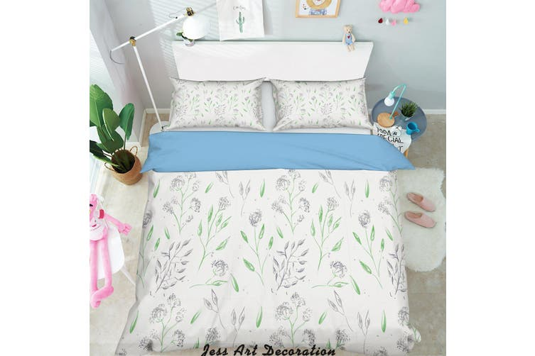 3D Green Leaves Pattern Quilt Cover Set Bedding Set Pillowcases  218-King