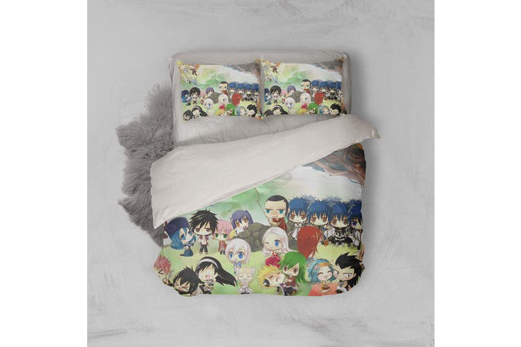 3D Anime Fairy Tail Quilt Cover Set Bedding Set Pillowcases 51-Queen