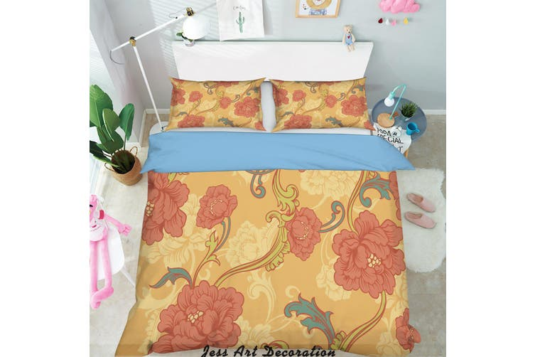 3D Red Flowers Pattern Quilt Cover Set Bedding Set Pillowcases  217-King