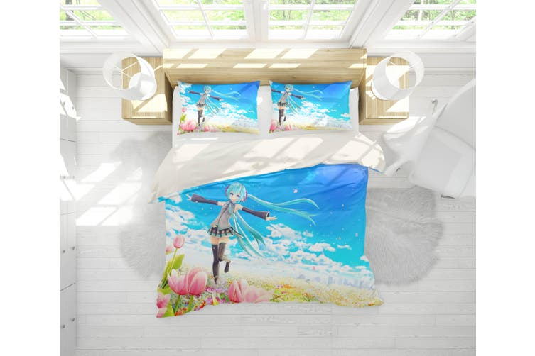 3D Anime Singer Miku Quilt Cover Set Bedding Set Pillowcases 42-Single