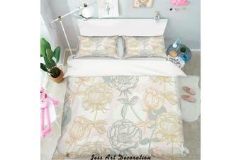 3D Color Flowers Pattern Quilt Cover Set Bedding Set Pillowcases 155-Queen