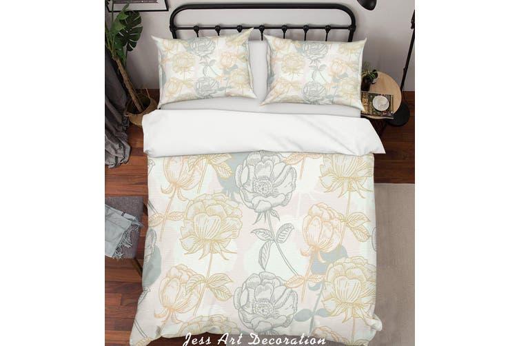 3D Color Flowers Pattern Quilt Cover Set Bedding Set Pillowcases 155-King